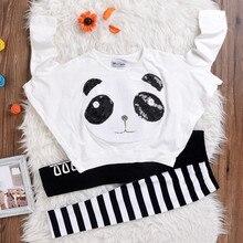 Toddler Kids Girls Panda Sequins Tops T-shirt+Striped Bow Pants Clothes Set Boys Girl Conjunto Infantil