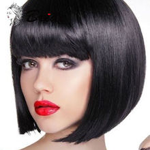 BRIDE Black Bob Wigs With Neat Bangs Synthetic False Natural