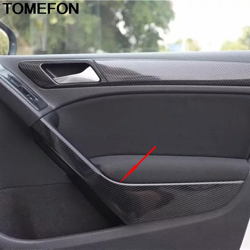 TOMEFON For Volkswagen Golf 6 MK6 2010 2011 2012 Car Inner Door Handle Panel Decoration Cover Trim Interior Accessories ABS image