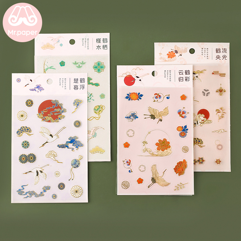 Mr.Paper 4 Designs Crane Chinese Style Fairy Tales PET Stickers Transparent PET Material Flowers Leaves Plants Deco Stickers