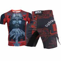 MMA T-shirts+Shorts Men Boxing Shorts Rashguard Mma BJJ Kickboxing Sets Muay Thai Crossfit Fitness Sport Jiu Jitsu Boxeo Jerseys