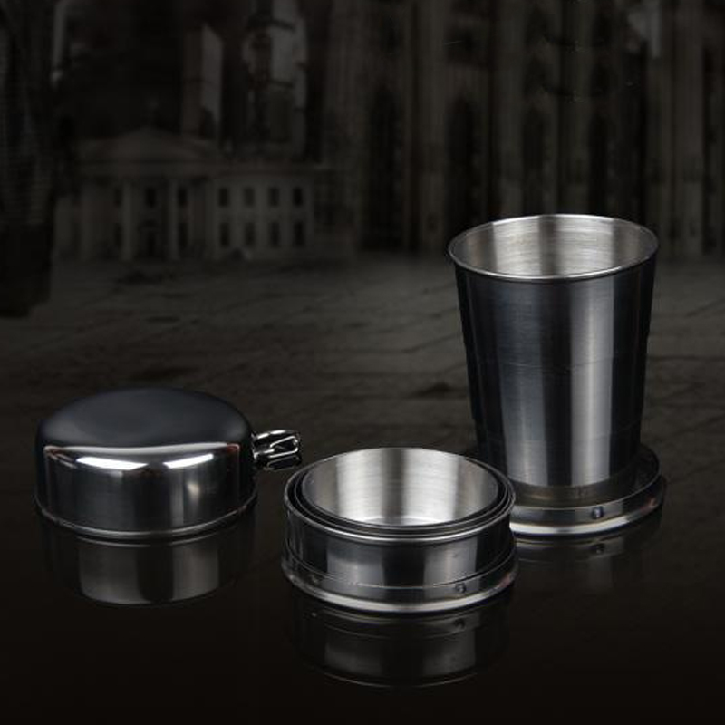 75ml 150ml 250ml Folding Cup Stainless Steel Retractable Collapsible Cups Demountable Portable Outdoor Travel Supplies Keychain 6