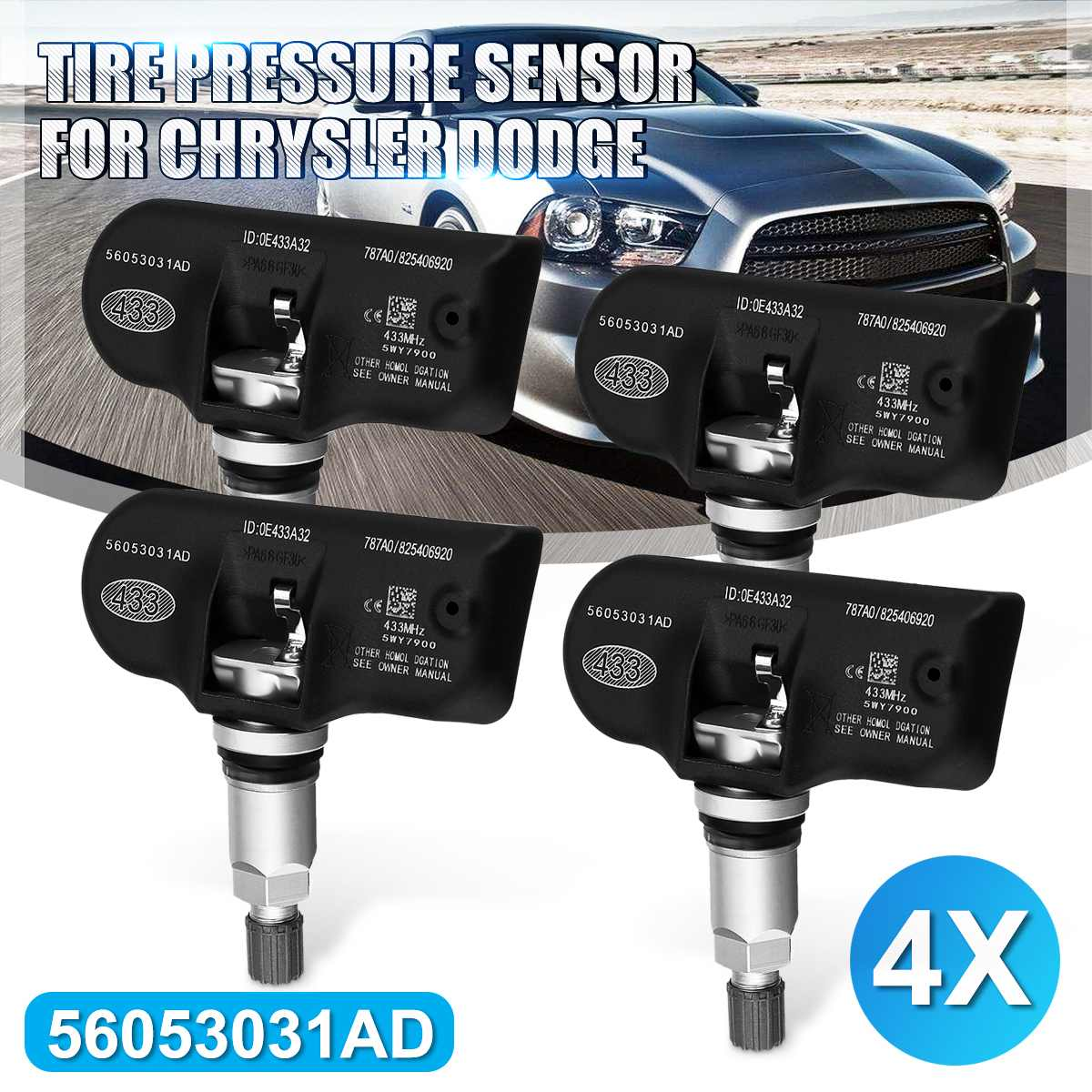 4pcs 56053031AD Tire Pressure Monitoring Sensor TPMS For Chrysler 200 300 Sebring For Dodge Avenger Caliber Jounrey