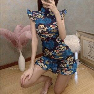 Image 3 - Vrouwen Strakke Chinese Stijl Cheongsam Qipao Formele Kleding Lady Nachtclub Sexy Bandage Party Split Bandage Jurken Coaplay Kostuums