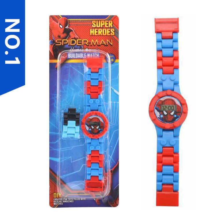 3D バットマンスパイダーマンスーパーマン子供たちはビルディングブロック腕時計レンガ Legoed Minecrafted ブロック腕時計フィギュアおもちゃ子供のため