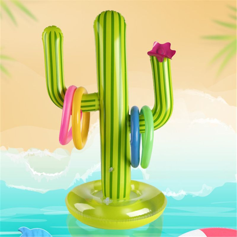 Inflatable Cactus Ring Toss Game Inflatable Toss Game Pool Toys Luau Party Supplies Indoor Outdoor Game For Kids Adults Su