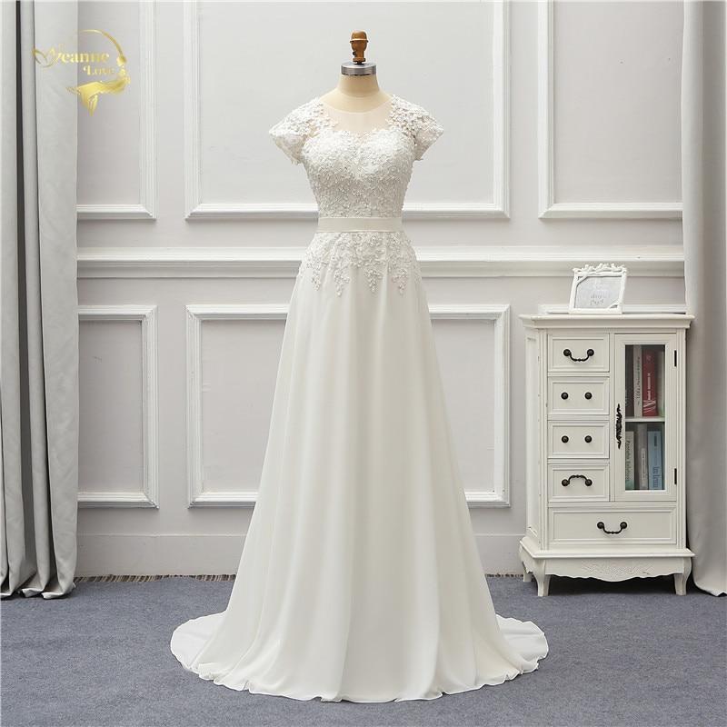 Jeanne Love Chiffon Wedding Dress 2020 Short Applique Lace Robe De Mariage JLOV75996 Vestido De Noiva Brida Dresses Wedding Gown