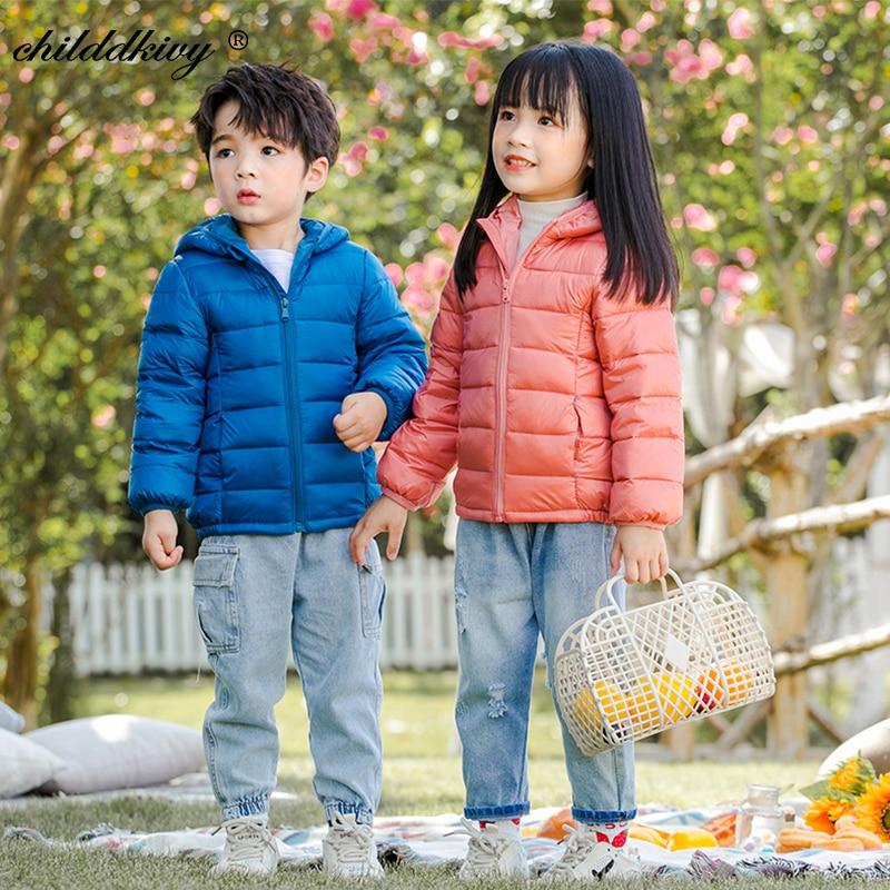 2021 Children winter jacket Ultra light down Baby Girls Jackets Kids Hooded Outerwear Coat boys snowsuit Children Clothing 2-8 y 4