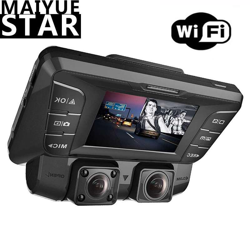 WiFi upgrade front and rear dual camera 4K 1080p full HD Wi-Fi super wide angle LCD screen car, <font><b>Uber</b></font>, taxi sprint video recorder image