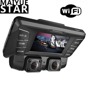 WiFi upgrade front and rear dual camera 4K 1080p full HD Wi-Fi super wide angle LCD screen car, Uber, taxi sprint video recorder(China)