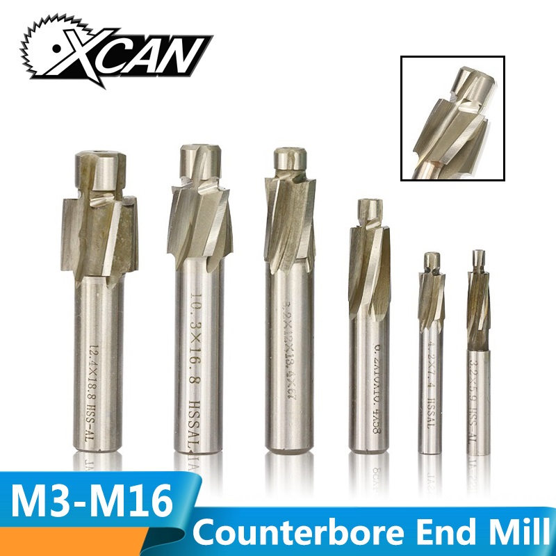 XCAN 1pc 4 Flute HSS Counterbore End Mill M3.2-M16.5 Pilot Slotting Tool Milling Cutter For Wood/Metal Drilling Counterbore Mill