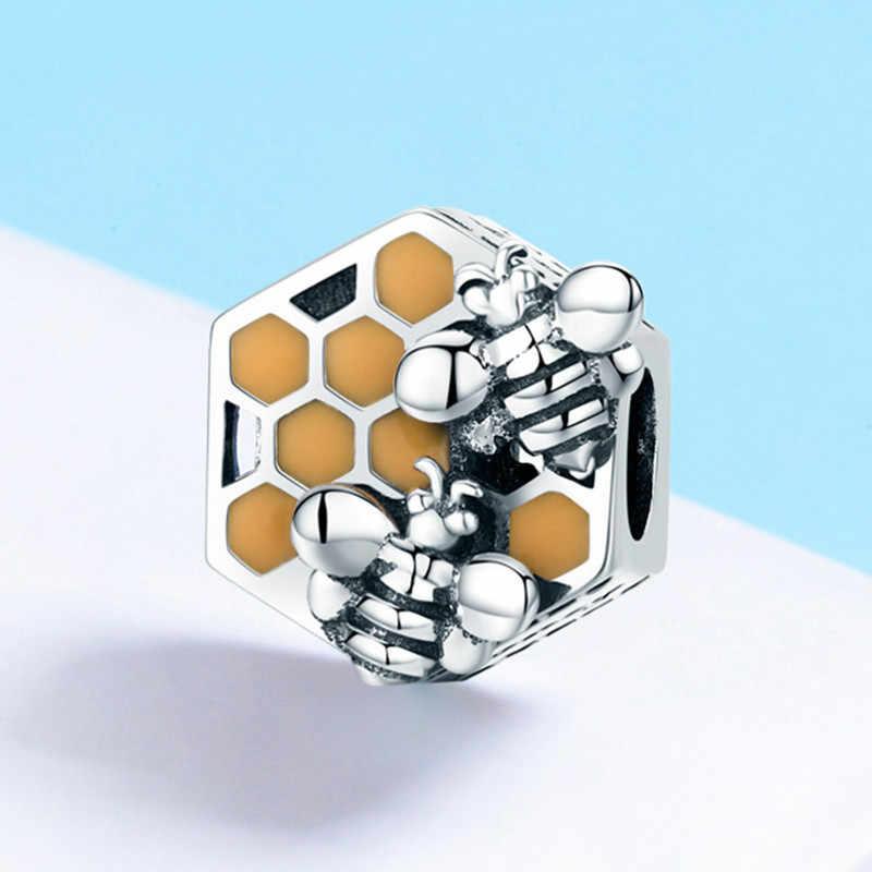 Codemonkey Baru Koleksi 925 Sterling Silver Sarang Lebah Lebah Madu Square Pesona Manik-manik Wanita Fit Gelang DIY Perhiasan Membuat C500