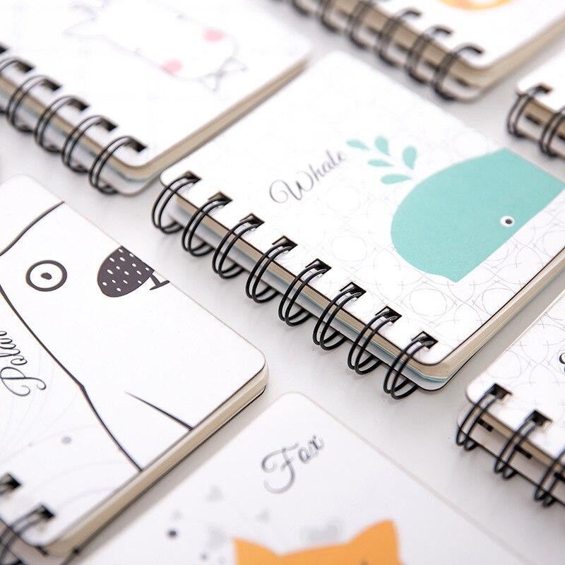 1pcs 78 * 102mm Animal Cartoon Creative Fresh Lovely A7 Pocket Small Loop Portable Notebook School Office Stationery 80sheets