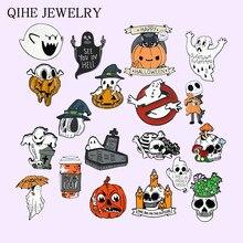 Ghost Series broszka wesołego Halloween czaszka z dyni miękkie emaliowane szpilki Cartoon Specter znaczek w klapie biżuteria prezent dla dzieci przyjaciół