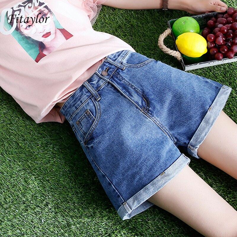 Fitaylor Europe Blue Crimping Denim Shorts Women Summer New Trendy Slim Casual Plus Size Womens High Waist Shorts