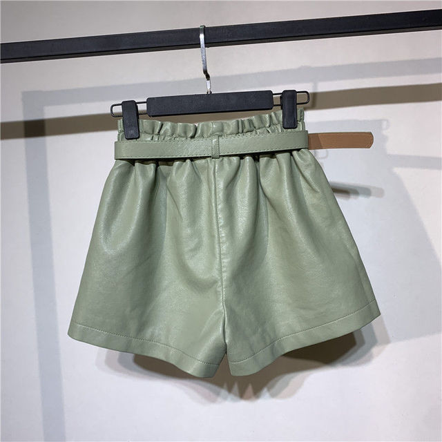 Autumn Winter Faux Leather High Waist Shorts Women With Belt Pockets Wide Leg Sexy Shorts Short Femme Women Leather Shorts C5922 3