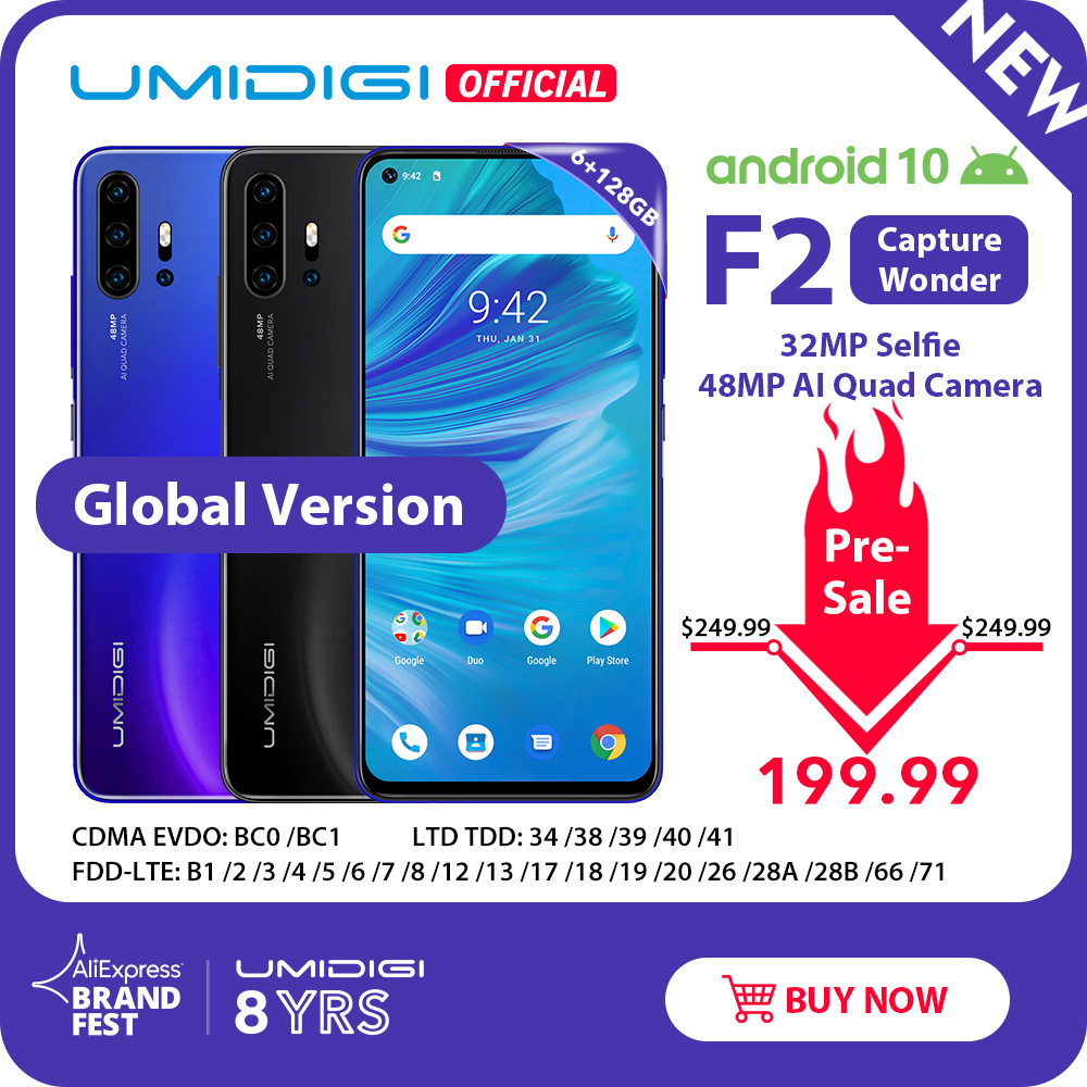 "Pre-sale UMIDIGI F2 Android 10 Global Version 6.53""FHD+6GB 128GB 48MP AI Quad Camera 32MP Selfie Helio P70 Cellphone 5150mAh NFC"