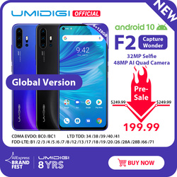 Pre-verkauf UMIDIGI F2 Android 10 Globale Version 6.53 FHD + 6GB 128GB 48MP AI Quad Kamera 32MP selfie Helio P70 Handy 5150mAh NFC