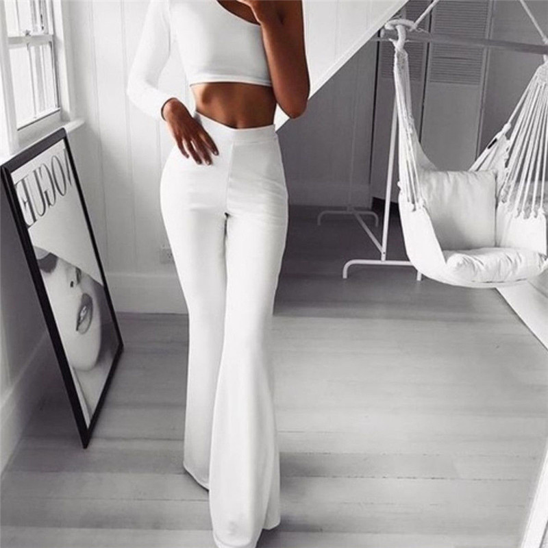 Sexy Women High Waist Long Pants OL Ladies Career Solid Palazzo Slim Flare Wide Leg Trousers