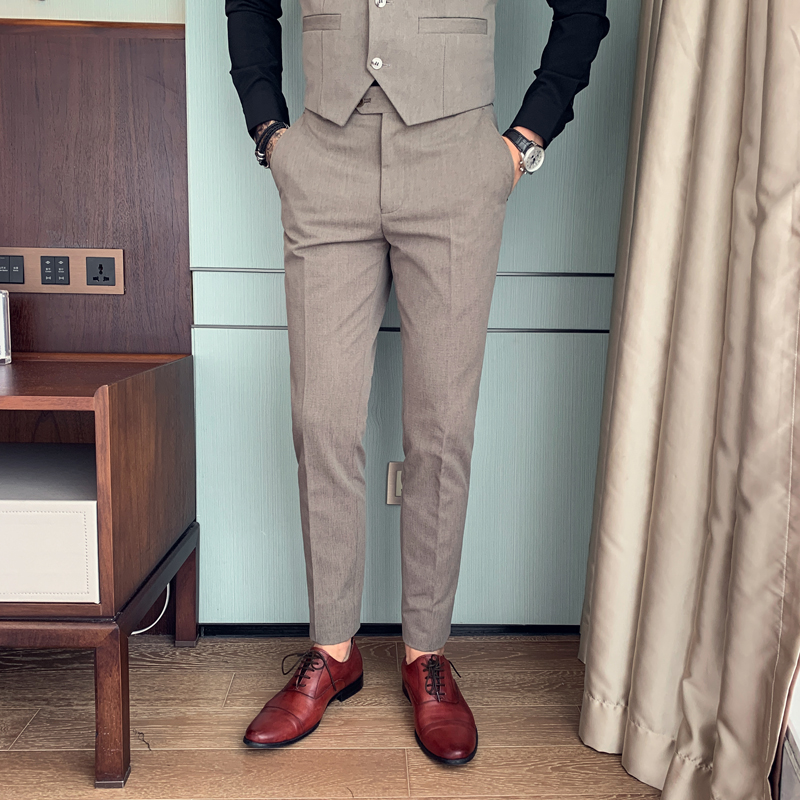 High Quality Mens Dress Pants British Style Solid Slim Fit Suit Pants Men All Match Formal Wear Business Office Trousers Men 34