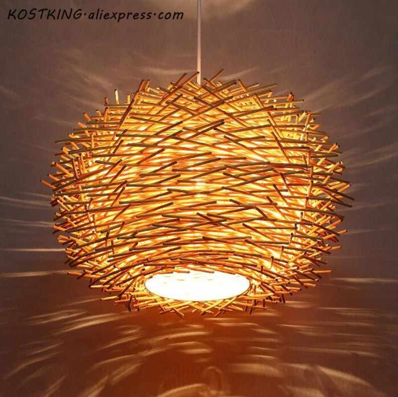 Handmade Bird Nest Pendant Light Wicker Wood Hotel Restaurant Dinning Room Cafe Bar Nordic Rattan Modern Hanging Suspension Lamp
