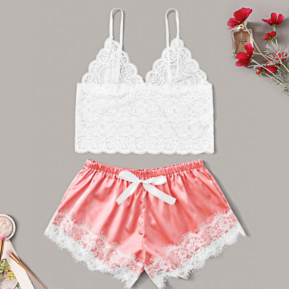 Women Sexy Temptation Lace Pajamas Set V-collar Pijamas Set Summer Women's Sleepwear Sexy Cute Top And Shorts