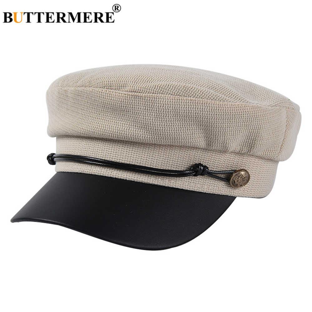 BUTTERMERE ผู้หญิง Newsboy หมวก Vintage Vintage Baker Boy หมวกผ้าฝ้าย Patchwork หญิงชายฤดูใบไม้ร่วงฤดูหนาว 2019 ใหม่กองทัพหมวก