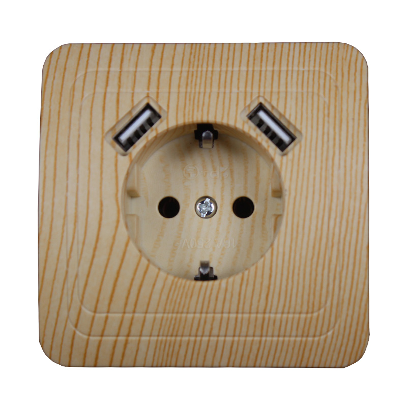 USB Wall Socket charger Free shipping Double USB Port 5V 2A Usb wood tree color prise high quality white color LB-02