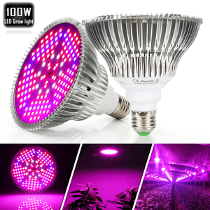 Image 4 - (10pcs/Lot) E27 100W Full Spectrum LED Grow Light For Indoor Garden Greenhouse Plant Growing & Flowering SMD Grow Lamp