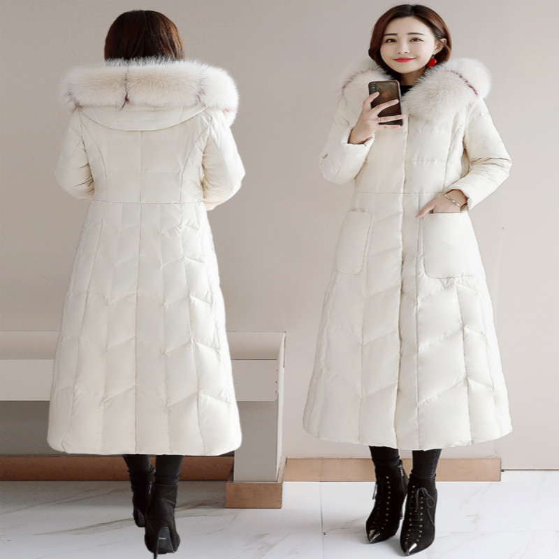 Winter Coat Female Fashion Women's Down Jacket With Real Fox Fur Hooded Warm Duck Down Long Jackets Ladies Coats ZHD03205
