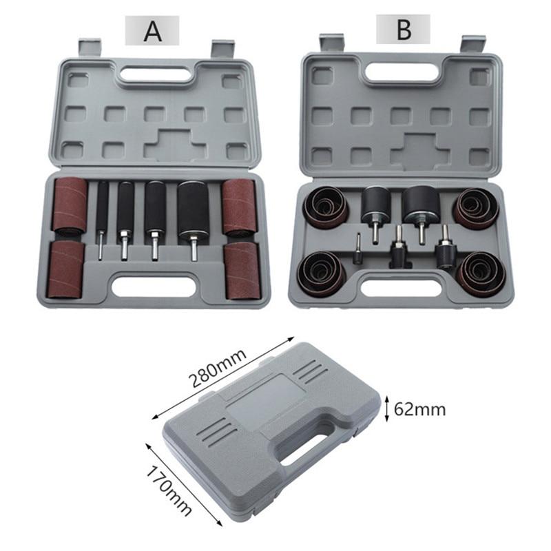 Drum Sander Dremel Kit Sanding Belt Grit 80 120 Sandpaper Long Short With Spindle Case For Drill Press Rotary Tools
