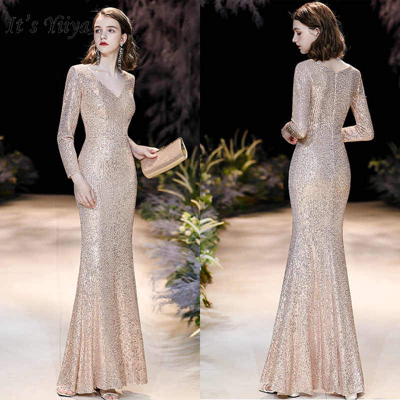 It's Yiiya Evening Dress Long Sleeve Robe De Soiree K021 Elegant V-neck Formal Gowns For Women Gold Sequins Evening Dresses