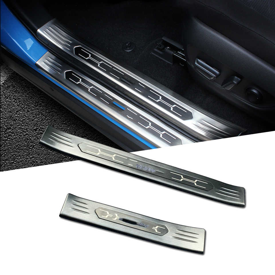 Protection car Stainless Steel Door Sill Protectors Door Sill Scuff Plate Guard 4 Pcs Set for Toyota RAV4 2019-2020 Black