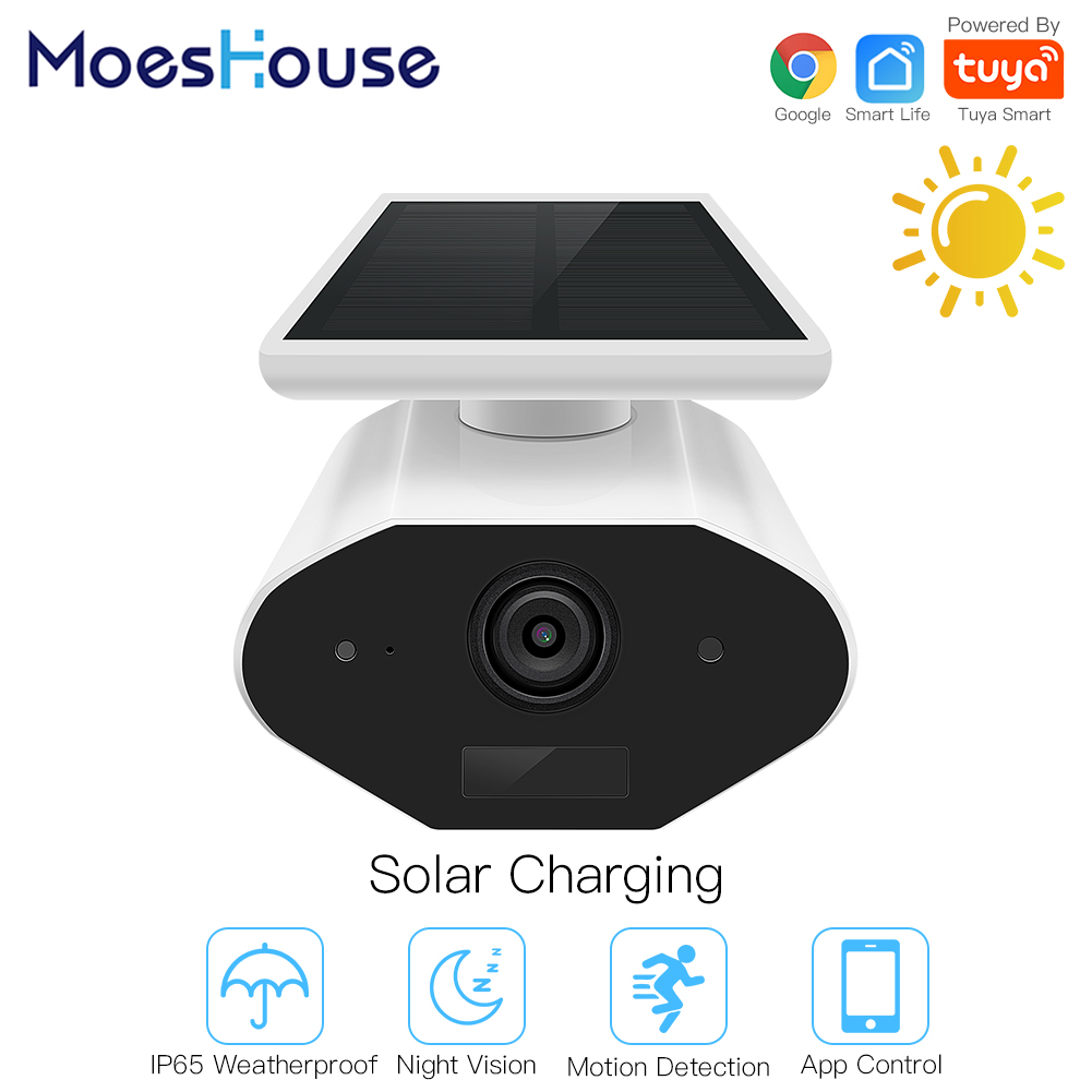 Tuya Smart Camera Outdoor Solar Camera HD 1080P Network Two-way Audio IP65 Wiring Free Work with Google Assistant 1