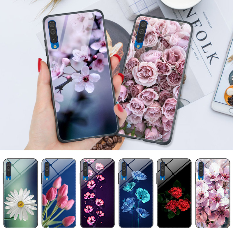 Shockproof Phone <font><b>Case</b></font> For <font><b>Samsung</b></font> A50 A30 A20 A40 A70 A10 A50S A30S A20S A10S A6 A7 A8 A9 2018 A3 <font><b>A5</b></font> <font><b>2016</b></font> Rose Floral <font><b>Hard</b></font> <font><b>Case</b></font> image