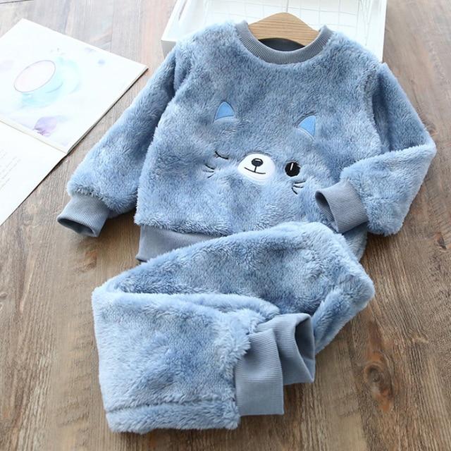 Fleece Animal Print Pajamas 4