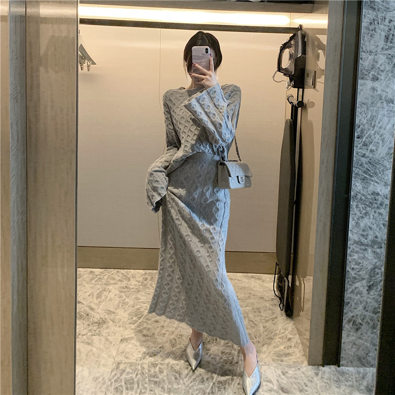 Hd0215249b41742e699a7ef7fa3315579J - Autumn / Winter O-Neck Loose Grey Jumper and Knitted Maxi Skirt