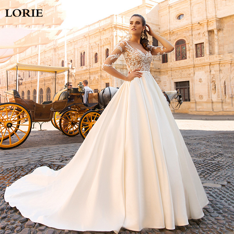 LORIE A Line Princess Wedding Dresses Satin Boho Lace Bride Gows Appliqued Half Sleeve Vestido De Voiva Boho Wedding Gowns