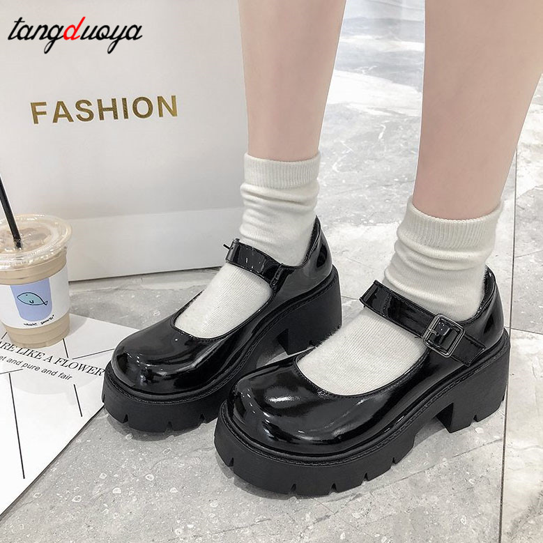 women shoes Japanese Style Lolita Shoes Women Vintage Girls High Heel Platform shoes College Student Mary Jane shoes big size 40