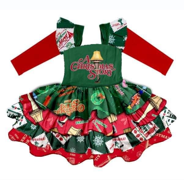 Novo estilo de outono meninas do bebê roupas christams história vestido Em Camadas vestido de manga comprida little children boutique vestidos de festa