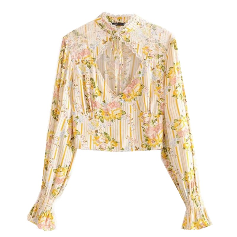 Image 2 - Bohemian Lace Spliced Striped Floral Shirt Yellow Sexy Women Elastic Waist Long Skirt Long Sleeve Blouse Holiday 2 Pieces SetWomens Sets   -