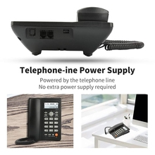 Desktop Corded Telephone with Caller ID Display, Wired Landline Phone for Home/Hotel/Office, Adjustable Volume, Real Time Date W deli 796 seat type telephone set corded telephone low radiation family numbers memory office home telephone set pregnant
