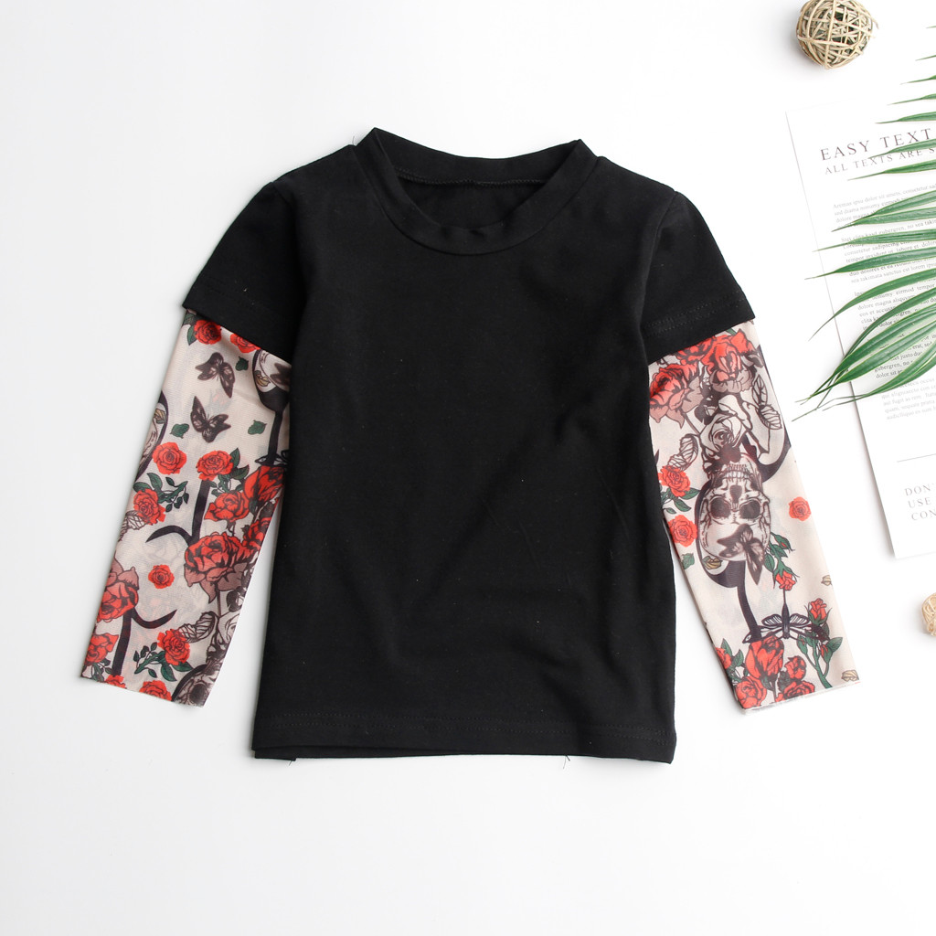 Детская футболка для маленьких мальчиков с сеткой, с принтом тату, с рукавами, с цветочным принтом, футболка для детей, в стиле хип-хоп, рок, детские комбинезоны для малышей