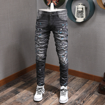 Fashion Streetwear Men Jeans Black Gray Color Elastic Slim Fit Destroyed Ripped Jeans Men Printed Designer Hip Hop Jeans Homme fashion designer men jeans black color slim fit elastic ripped jeans men destroyed leather patch streetwear hip hop jeans