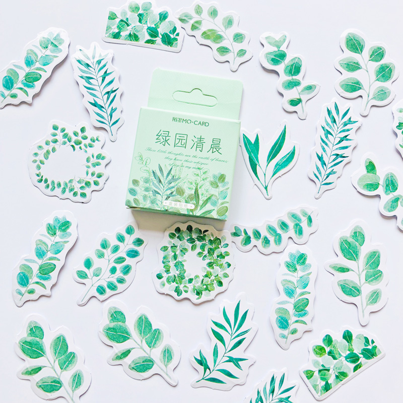 46 Pcs /Box Green Style Natural Morning Leaf Paper Decoration Sticker DIY Album Diary Label Sticker