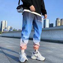 Хип-хоп скейтборд Спорт и досуг девять очков брюки для мужчин и женщин Свободные Хип-хоп печати градиент цвета брюки
