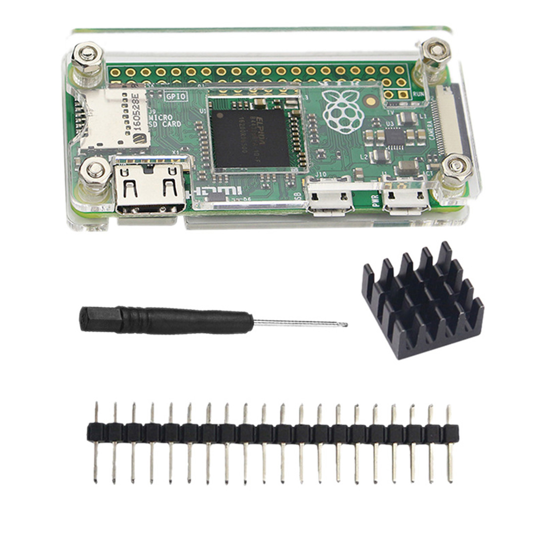 New Universal Acrylic Shell Kit With Cover/Cooling Fin/Screwdriver/40p Double Row Pin Set For Raspberry Pi Zero 1.3/Zero W