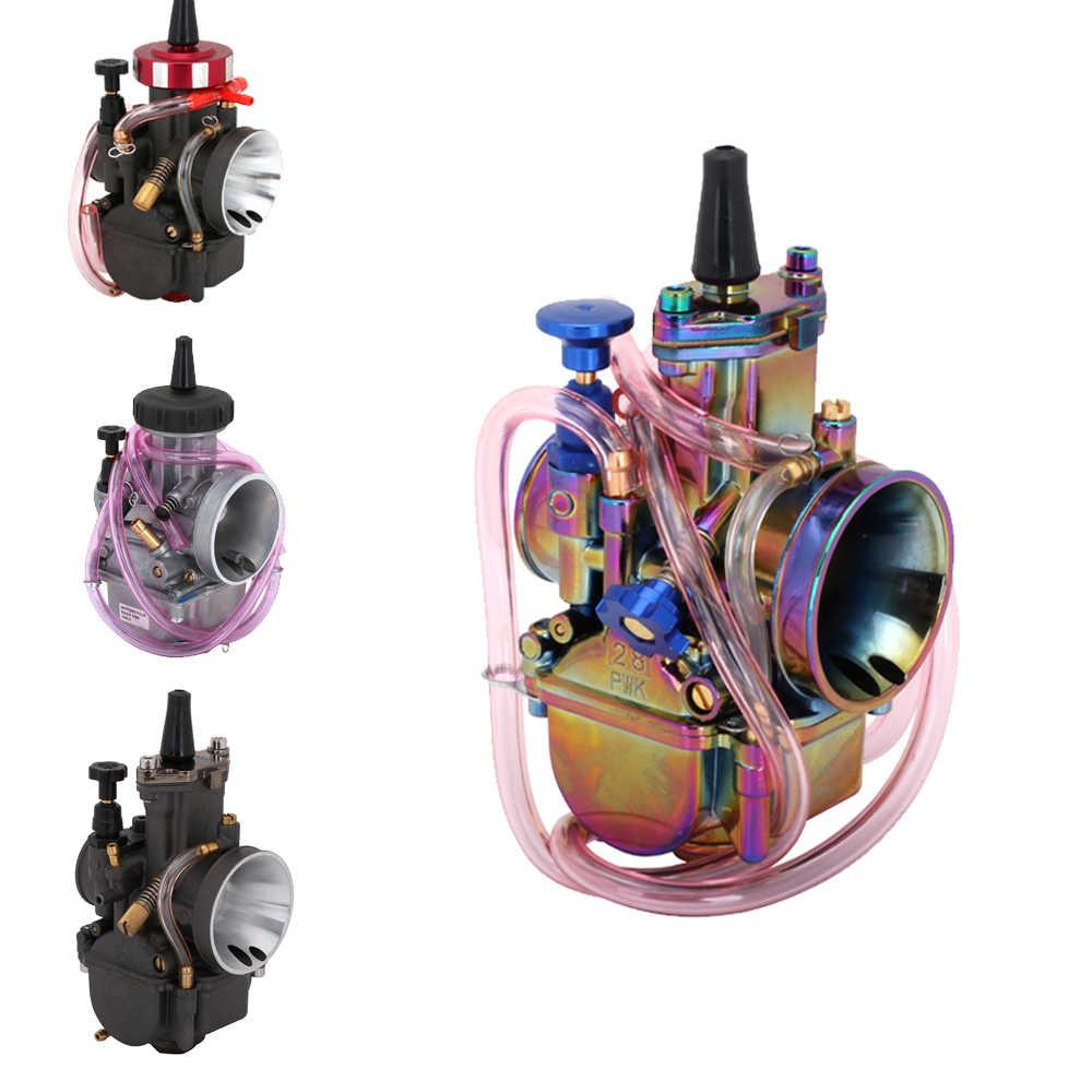 Yarış Moto evrensel renkli Scooter karbüratör 21 24 26 28 30 32 34 36 38 40 42 mm Carburador için keihin PWK güç Jet ile