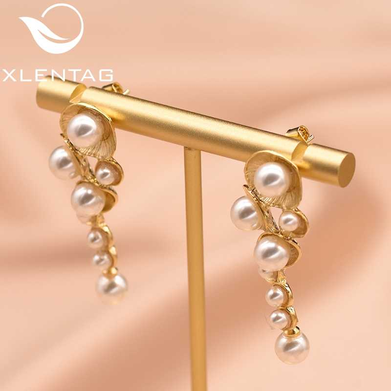 XlentAg White Shell Pearl Drop Earrings For Women Female Handmade Wedding Gold Plated Dangle Earring Luxury Jewellery GE0330