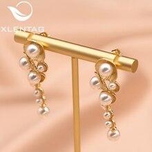 XlentAg White Shell Pearl Drop Earrings For Women Female Handmade Wedding Gold Plated Dangle Earring Luxury Jewellery GE0330 все цены